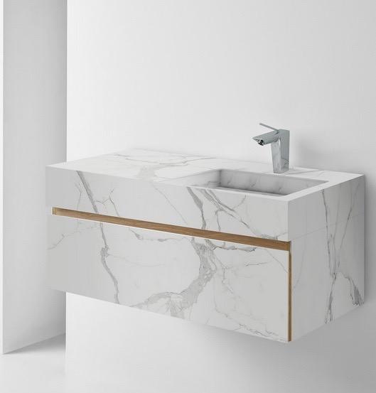 Lavabo de baño elaborado con cerámica de gran formato