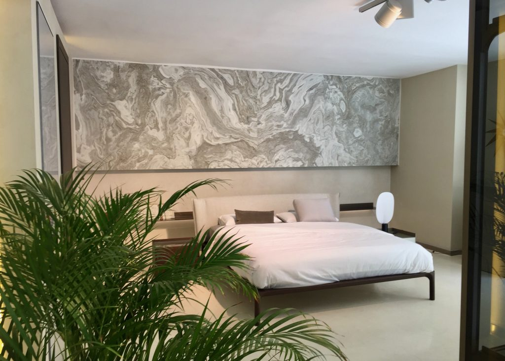 Cabezal de cama de piedra natural en diseño de libro